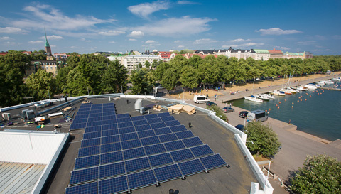 Solar panels on top of Cafe Carusel in Helsinki
