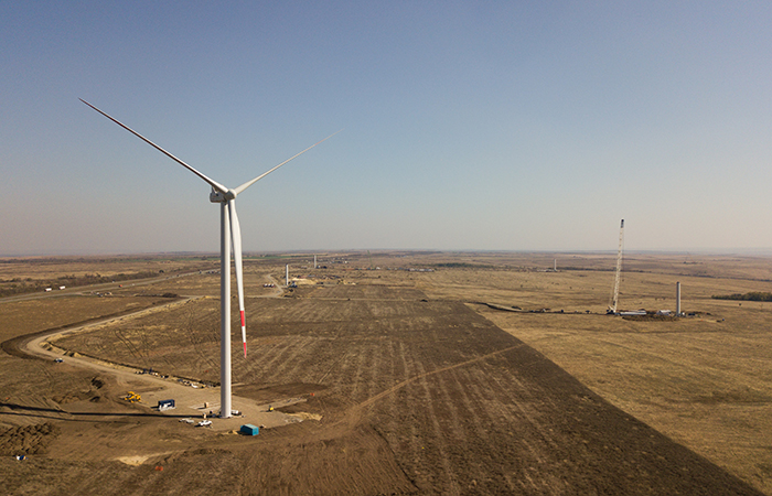 Wind park construction site in Rostov